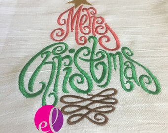 Merry Christmas Tree Embroidered Flour Sack Towel - Jesus Is The Reason For The Season Embroidered Flour Sack Towel - Merry Christmas Tree