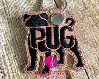 Embroidered Pug Keychain or Keyfob Gift