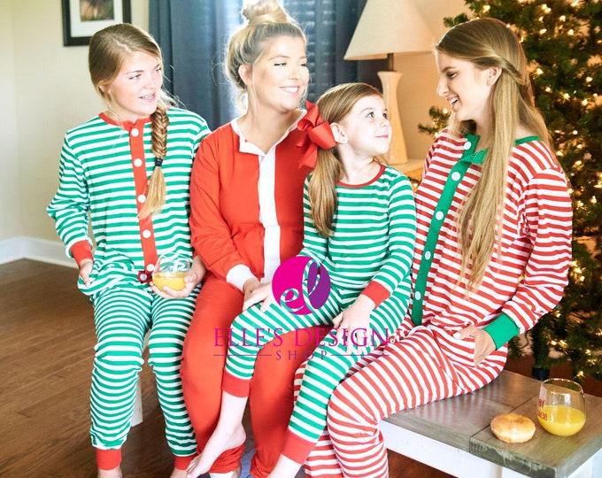 Featured listing image: Family Embroidered Christmas Pajamas -Red Stripe Christmas Pajamas -Green Stripe Christmas Pajamas - Adult Christmas Jammies