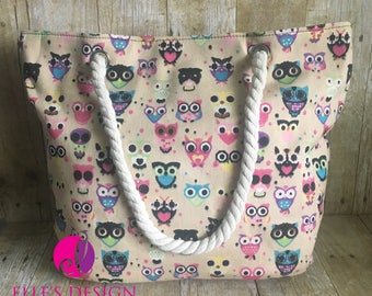 Owl Tote or Beach Bag with Rope Handles