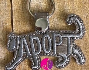 Cat Adoption Embroidered Keychain or Keyfob Gift