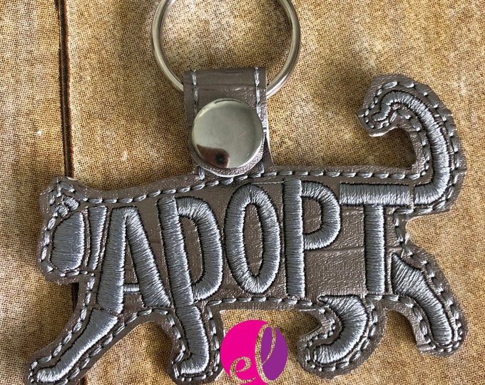 Featured listing image: Cat Adoption Embroidered Keychain or Keyfob Gift