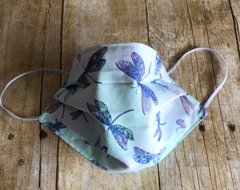 100% COTTON FACE Mask for Women - Dragonfly Pattern  - Washable, Elastic, Reusable, Reversible, and Pleated