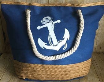 Personalized Canvas Denim Anchor Beach Bag or Tote with Rope Handles