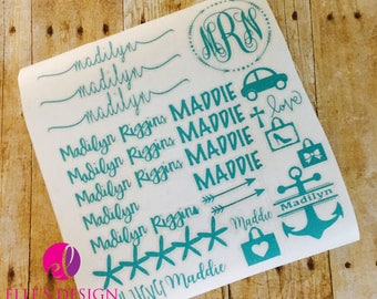 Back To School Personalized Decal - School Stickers - Perdonalized Sticker Sheets - Monogrammed Vinyl Sheets