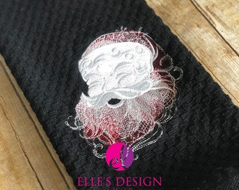 Black or Gray Santa Whimsy Waffle Weave Towel - Santa Whimsy Embroidered Hand Towel - Santa Whimsy Ring-Spun Kitchen Towel Gift