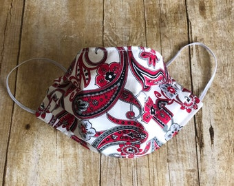 100% COTTON FACE Mask for Women - Red Paisley  - Washable, Elastic, Reusable, Reversible, and Pleated