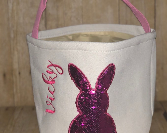 Featured listing image: Embroidered Personalized Reverse Sequin Easter BunnyBasket