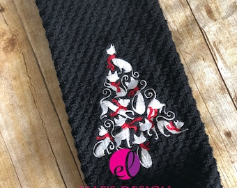 Black or Gray Cat-Mas Tree Waffle Weave Towel - Cat Christmas Tree Embroidered Hand Towel - Cat Ring-Spun Christmas Tree Gift Kitchen Towel