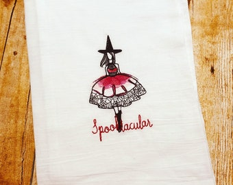 Embroidered Spooktacular Halloween Fashionista Flour Sack Towel for Fall or Halloween Decor