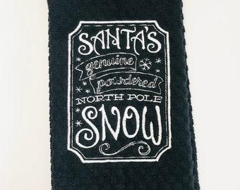Santa's Genuine Powdered North Pole Snow Black Waffle Weave Kitchen or Hand Towel Christmas Embroidered Hand Towel - Christmas Kitchen Towel