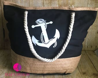 Personalized Black Canvas Anchor Beach Bag or Tote with Rope Handles