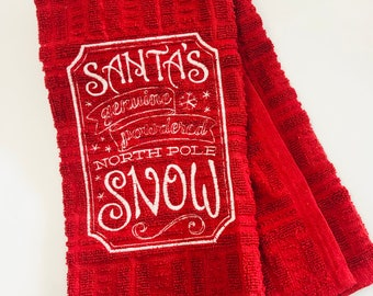 Santa's Genuine Powdered North Pole Snow Red Waffle Weave Kitchen or Hand Towel Christmas Embroidered Hand Towel - Christmas Kitchen Towel
