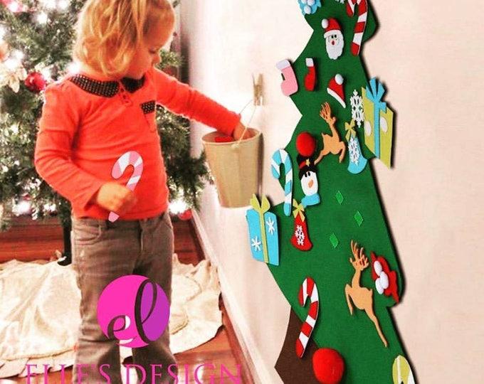 Featured listing image: Personalized Christmas Felt Tree - Interactive Kids Christmas Felt Tree - Child's Christmas Felt Tree - Hanging Christmas Felt Tree