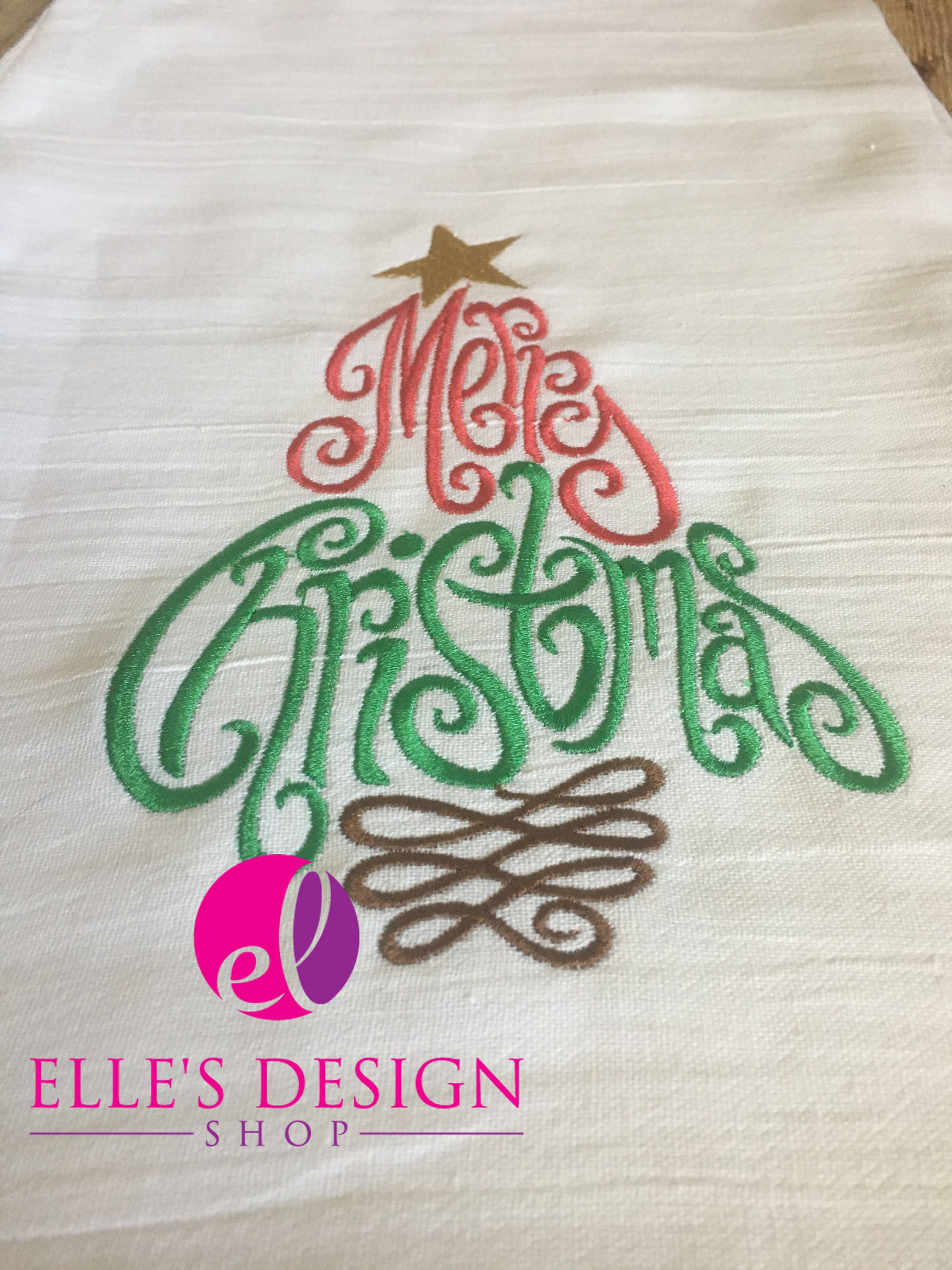 Merry Christmas Tree Embroidered Flour Sack Towel - Jesus Is The ...