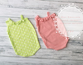 Newborn Swimsuit Sewing Pattern - Photography Prop - One Shoulder Ruffle Swimsuit