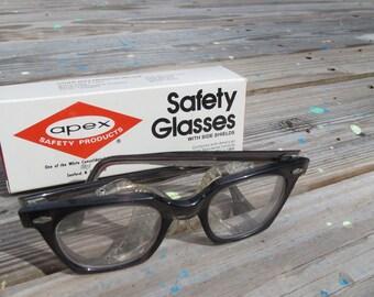 6cf82f725e5 Vintage 1960s 70s Horn Rim Safety Glasses with Side Shields Apex Rimmed  Black Frame