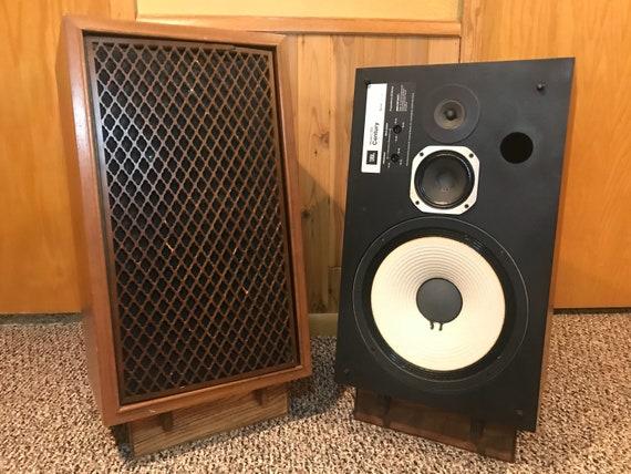 Custom vintage look hand made walnut stereo speaker stands by Guy Schwictenberg