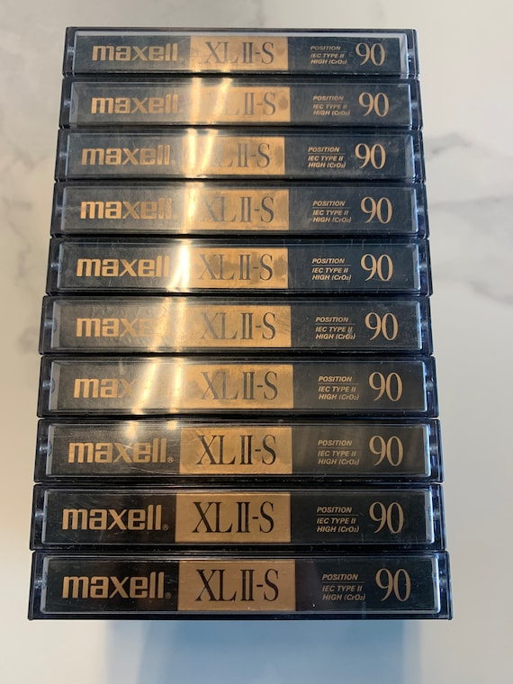 10-pack of vintage 1990's Maxell XLII-S 90 minute cassette tapes with music recorded on them