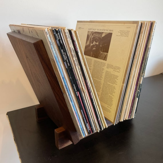 """Handmade and hand finished hardwood vinyl record album flip bin stand for 12"""" LP and 7"""" 45rpm records display stand"""
