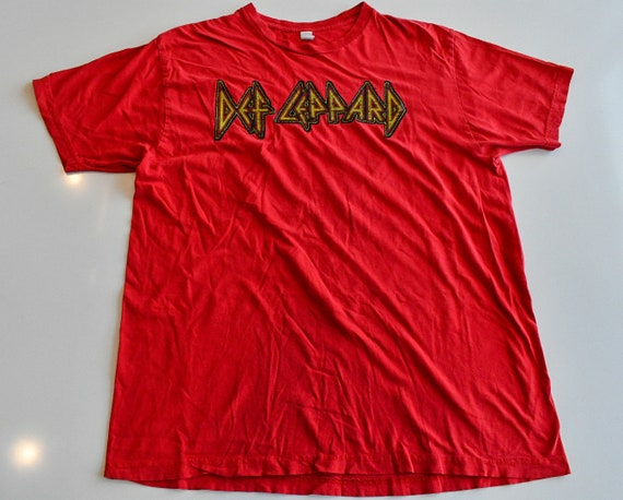 Def Leppard Rock 1986 Hysteria world tour concert tee shirt men's XL Anvil with textured stitched logo letters