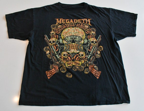 Megadeth 2012 Guns Drugs Money concert tour band tee shirt T-shirt men's XXL