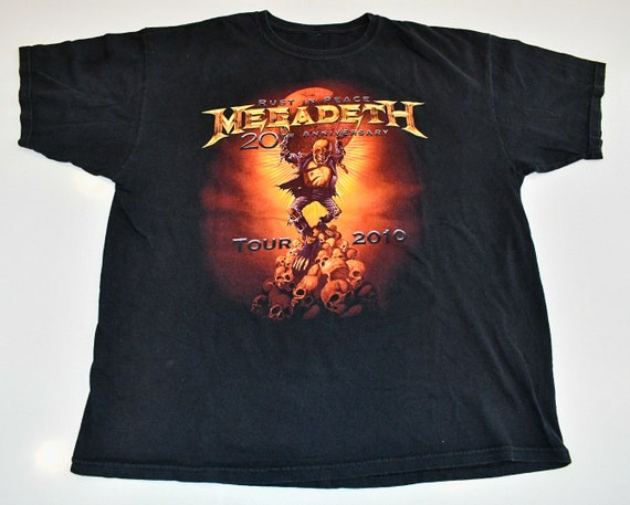 Megadeth 2010 Rust In Peace 20th anniversary concert tour band tee shirt T-shirt men's XL