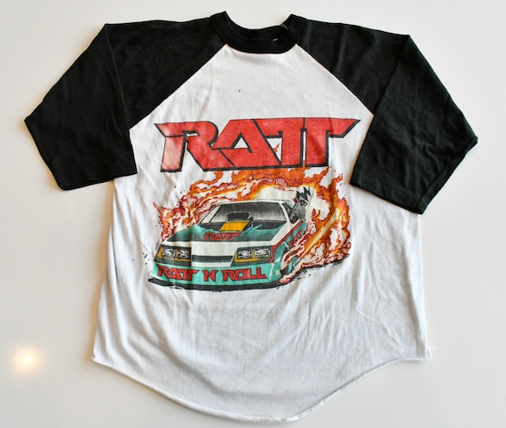 RATT 1987 Ratt 'N' Dancing Undercover funny car tour 3/4 sleeve raglan men's LARGE true vintage white band baseball jersey