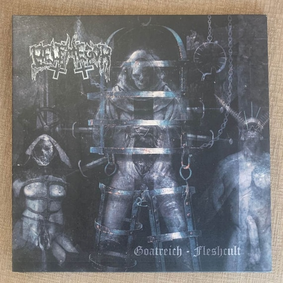 Belphegor Goatreich Gleshcult Limited addition numbered pressing on white and blue splatter vinyl record album NM