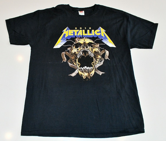 Metallica Saturday August 20 2016 US Bank first rock show with Avenged Sevenfold concert band tour t-shirt tee shirt men's Large