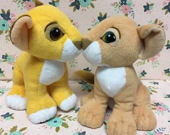 Vintage Disney The Lion King Kissing Simba & Nala Plush ~Magnetic Noses~