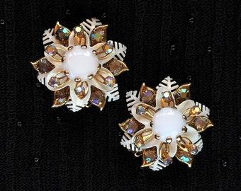 NEW 1950s Sapphire and Diamond Rhinestone Dangle Clip Earrings  3.5 L Shoulder Sweeping Open Back Navette Rhinestone Drop Earrings