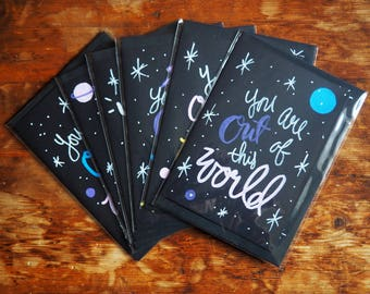 Out Of This World // Hand drawn card