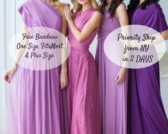 f4dc92e0c1 Infinity Bridesmaid Dress Burgundy Purple Mauve Dusty Rose Dress Floor  Length Maxi Wrap Convertible Dress Bridesmaid Dress