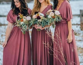 Bridesmaid Dress Burgundy Etsy