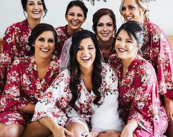 Bridesmaid Robes -Floral Cotton Robes -Getting Ready Robes -Bridal Party  -Kimono Robe   Discount for Multi Orders db590d1be