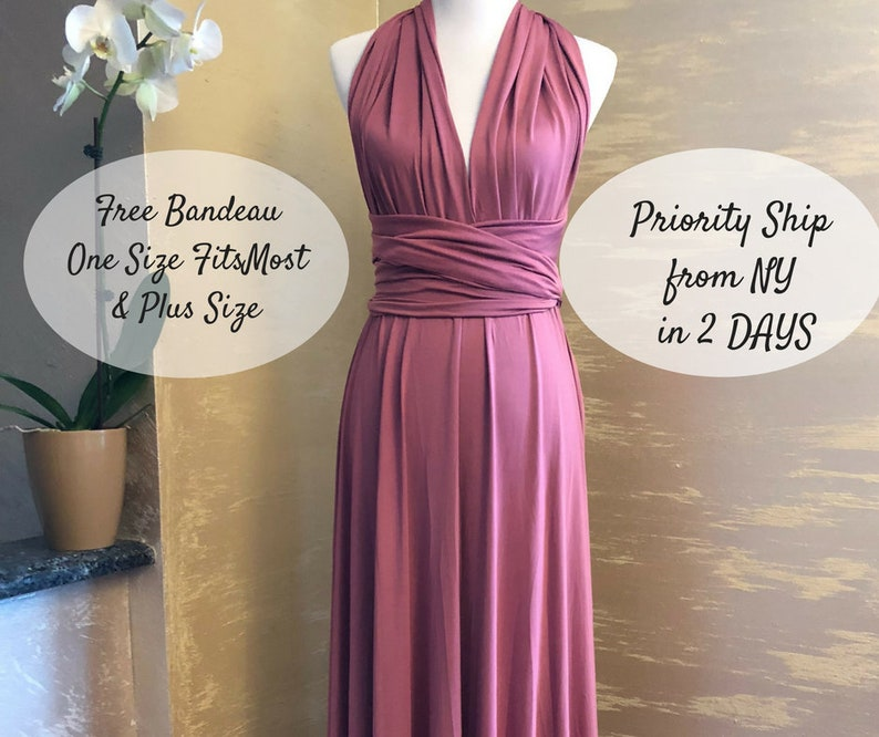 d76a5b6b35 Infinity Bridesmaid Dress Navy Blue Sage Champagne Dusty Rose