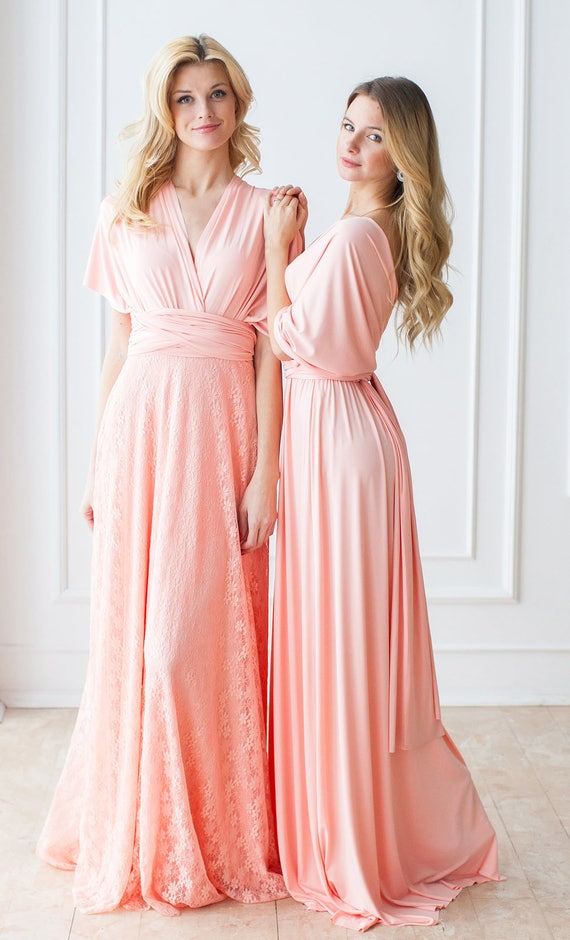 Pastel Peach Bridesmaid Dress Peach Coral Convertible | Etsy