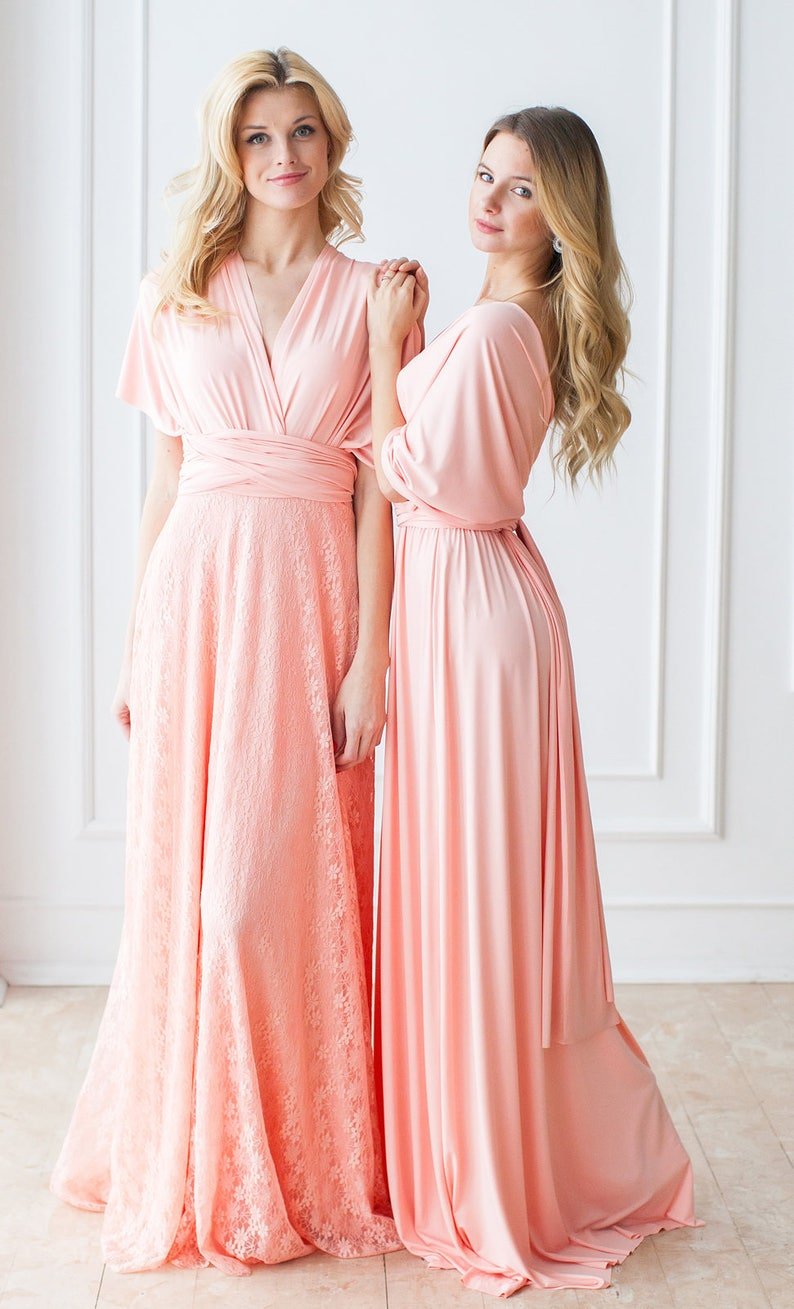 1aac421b636 Pastel Peach Bridesmaid Dress Peach Coral Convertible
