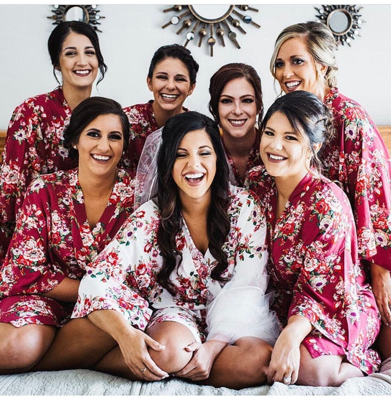 SALE Bridesmaid Robes Floral Cotton Getting Ready Robe Bridal image 0