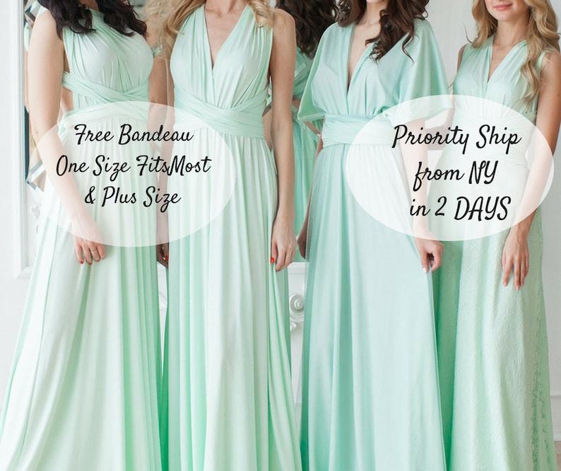 8adf41f2561 Pastel Mint Infinity Bridesmaid Dress Mint Green Convertible