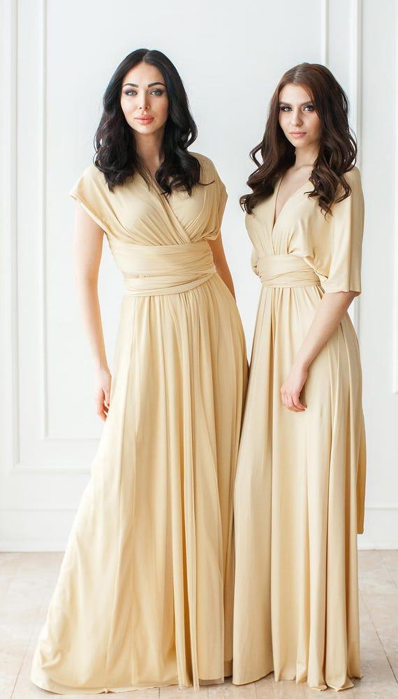 Champagne Bridesmaid Infinity Dress Floor