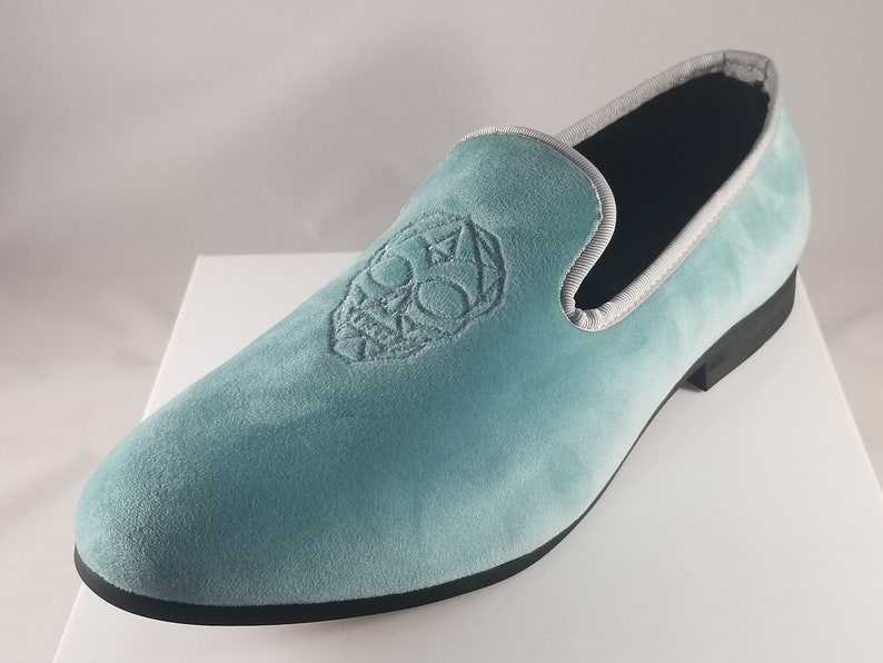 f8bc033f0a29a Men's Slip On Loafer Turquoise with Silver Skull