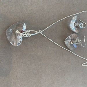 22 matching  earrings Jewelry set of a German crystal mult-faceted 38mm pendant on chain