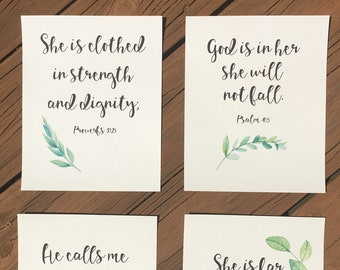 Scripture for Women of Strength and Beauty! Women, Birthday, Friendship, Gift Idea, Set of 4 prints