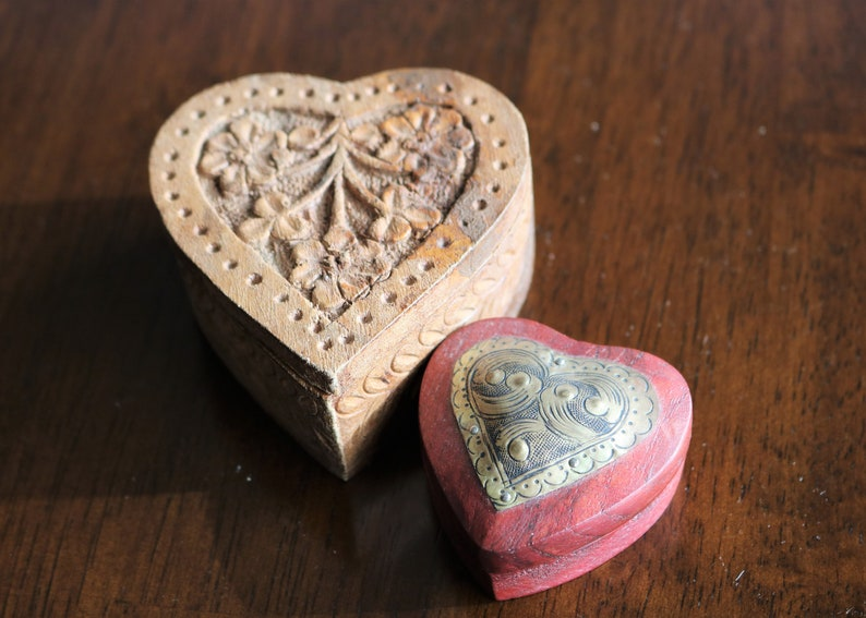 2 Wooden Heart Shaped Trinket Boxes Heart Box Jewelry Box Treasure Box Mango Wood