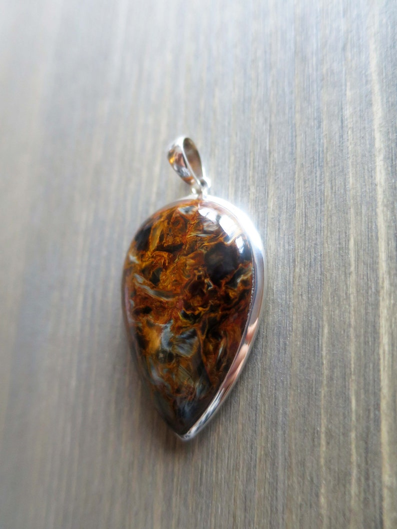 Beautiful Inverted Teardrop Fiery Pietersite Pendant in Sterling Silver