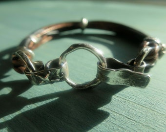 Silver and Copper multi-strand Leather Bracelet with Hammered Sterling Silver and Silver Clasp ~ GenVie Designs