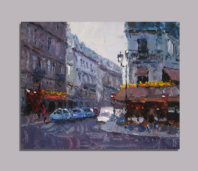 Paris Painting Oil Painting Original Street Cafe Art City Wall Fine Art Cityscape Urban Painting Paris Decor Palette Knife Street Scenery