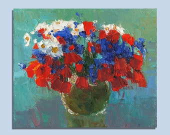 Original Oil Painting Still Life Palette Knife Painting Floral Art Small Art Flower Painting Bouquet Of Flowers Poppies Painting Art Gift